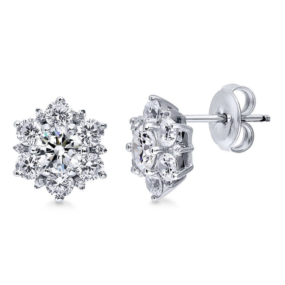 Sterling Silver Rhodium-plated IL Small State Earring Travel
