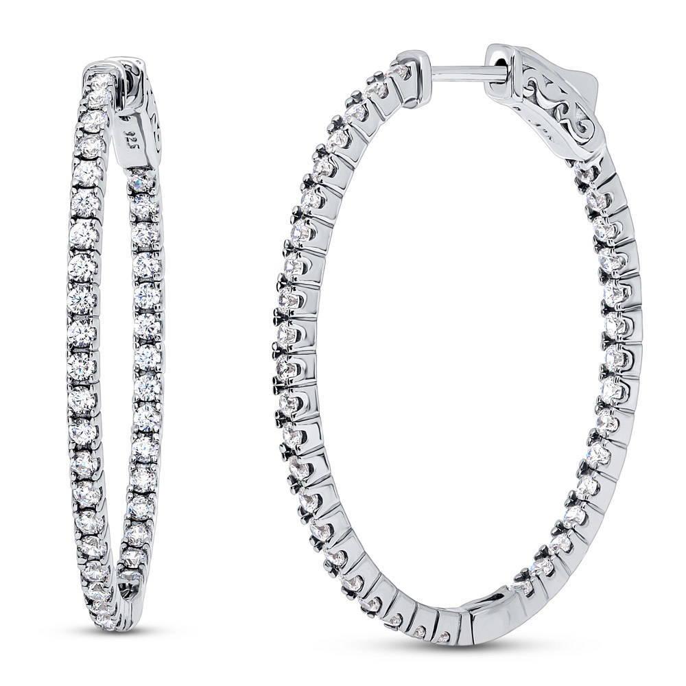 Long 925 Silver Oval Hoop Earrings in a Gift Box