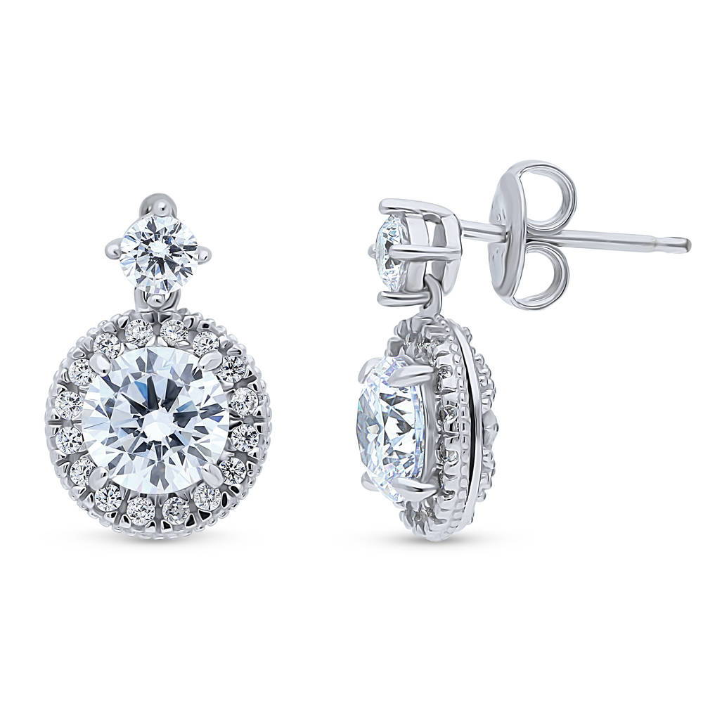 BERRICLE Sterling Silver CZ Vintage Style Halo Anniversary Wedding Earrings