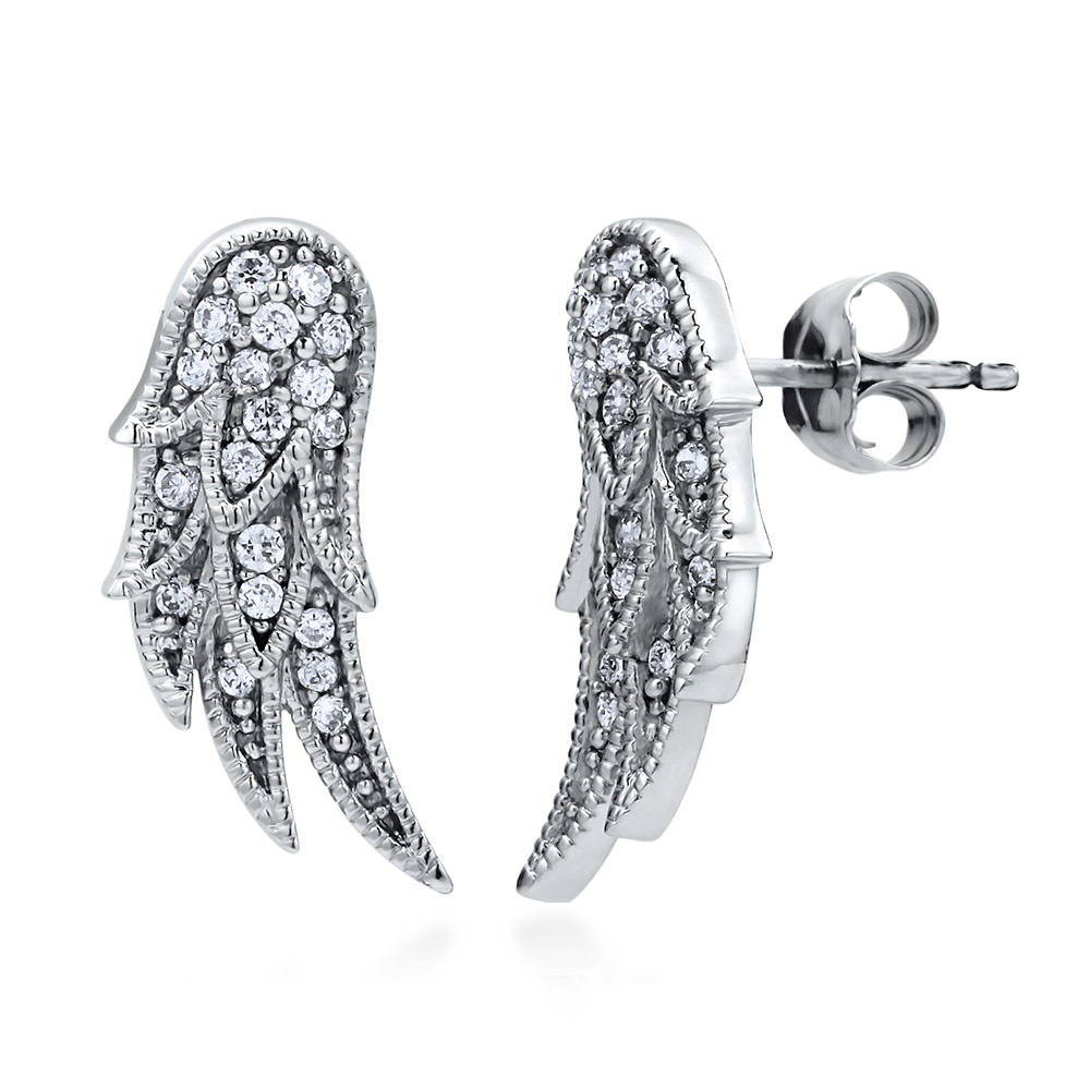 BERRICLE Rhodium Plated Sterling Silver Cubic Zirconia CZ Angel Wings Fashion Ear Cuffs