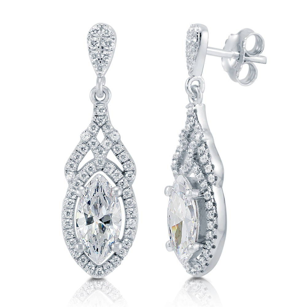 BERRICLE Marquise Cut Cubic Zirconia CZ Sterling Silver Halo Dangle Earrings - Jewelry Gift for Birthday, Anniversary, Wedding at Sears.com