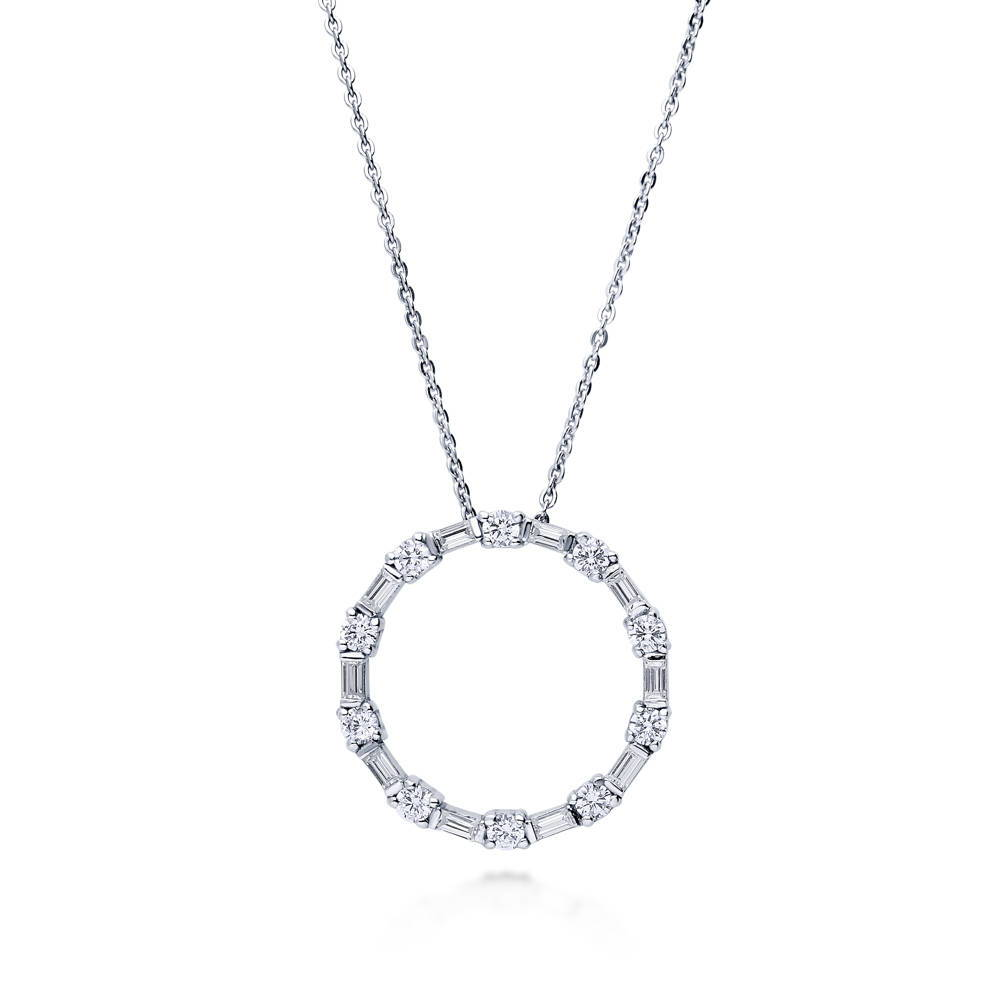 BERRICLE Sterling Silver Cubic Zirconia CZ Open Circle Wedding Pendant Necklace