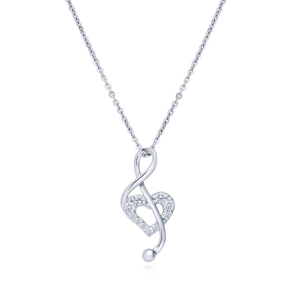 Sterling Silver Necklace w// CZ Stones Musical Note Pendant