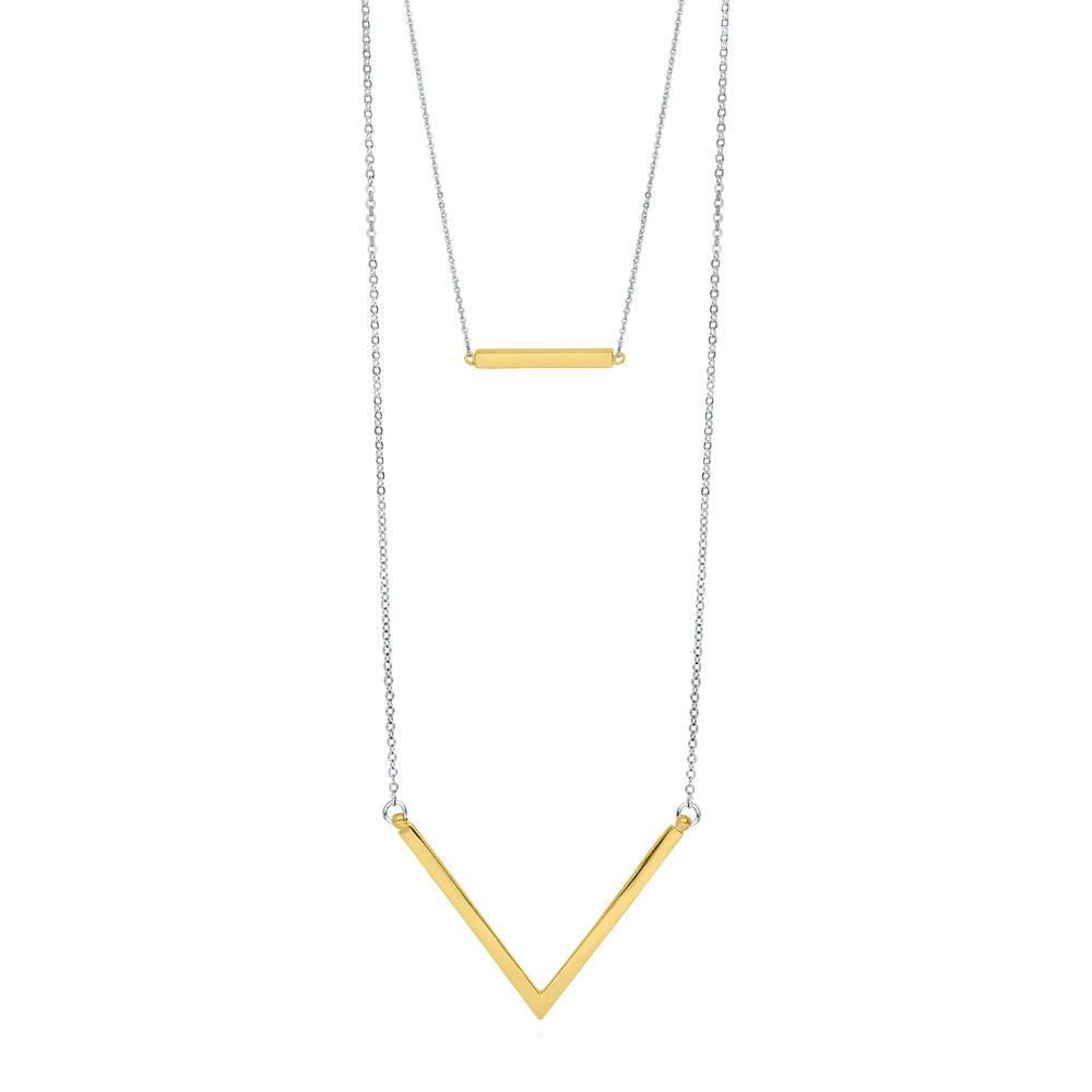 Berricle Two Tone Bar V Shaped Wedding Layered Necklace Ebay