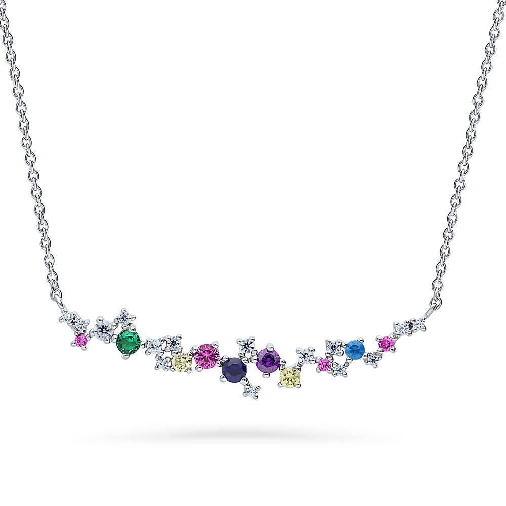 BERRICLE Sterling Silver Cubic Zirconia CZ Cluster Bar Wedding Pendant Necklace