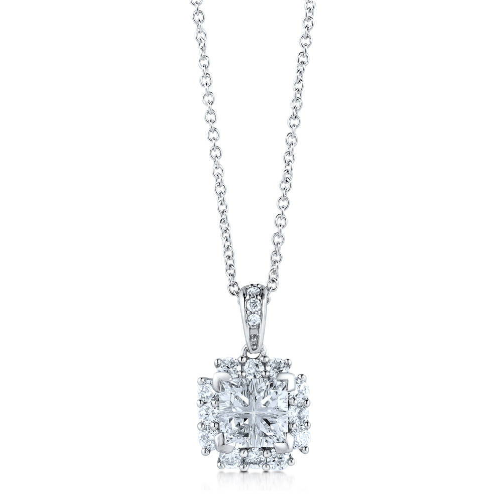 BERRICLE Sterling Silver Princess Solitaire Cubic Zirconia CZ Pendant Necklace - Jewelry Gift for Birthday, Anniversary, Wedding at Sears.com