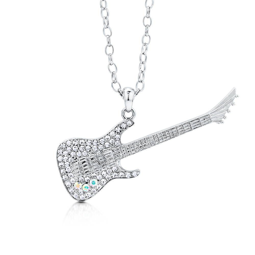 BERRICLE Silvertone Crystal Guitar Hero Music Instrument Pendant Necklace - Jewelry Gift for Birthday, Anniversary, Wedding at Sears.com