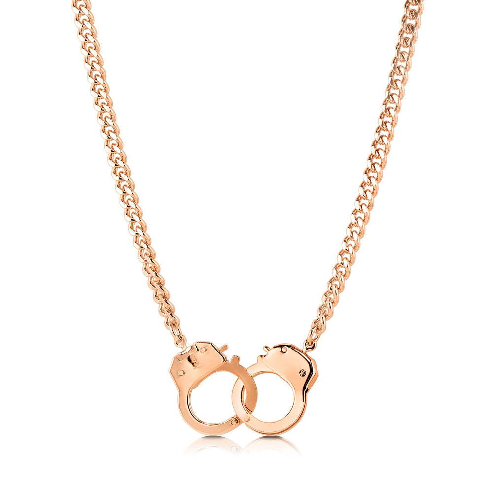 BERRICLE Rose Gold Plated Bold Openable Handcuffs Necklace with Curb Chain - Jewelry Gift for Birthday, Anniversary, Wedding