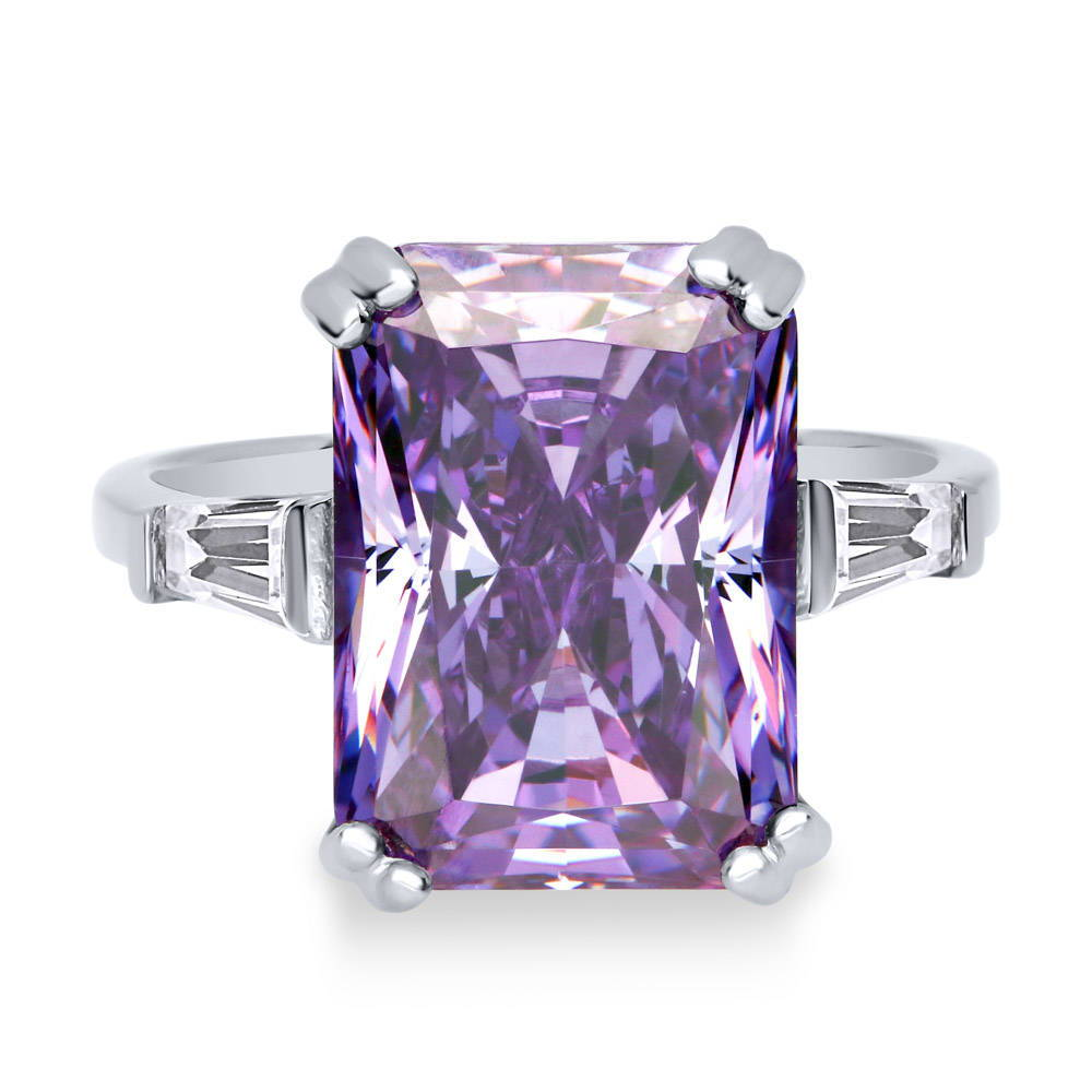 Baguette Cut Purple Amethyst Cubic Zirconia /& Round Cz Black Stainless Steel Band Ring Sizes