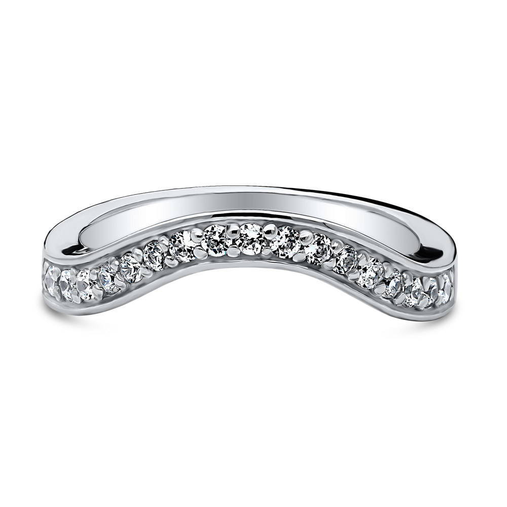 Sterling Silver Rhodium Mens Pave Crescent Moon Detail Ring