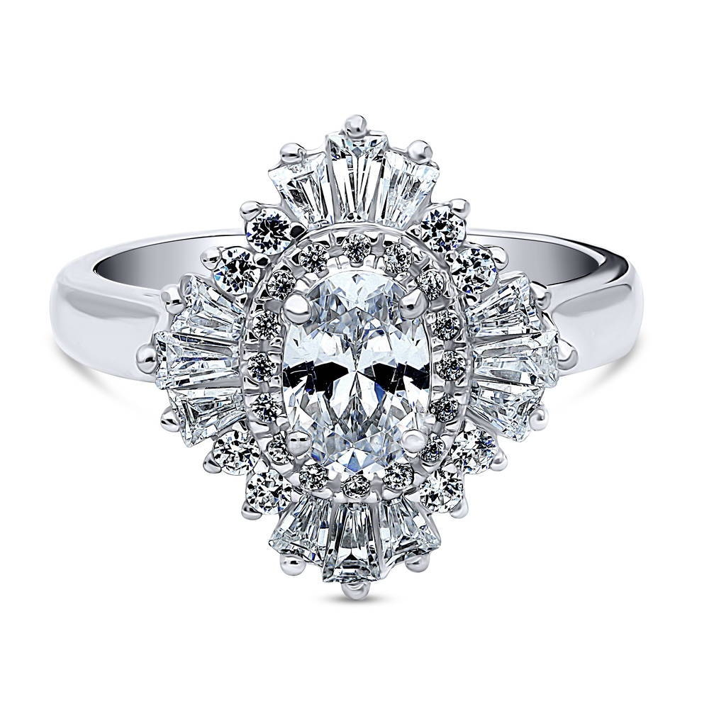 Berricle Sterling Silver Cz Solitaire Cocktail Fashion
