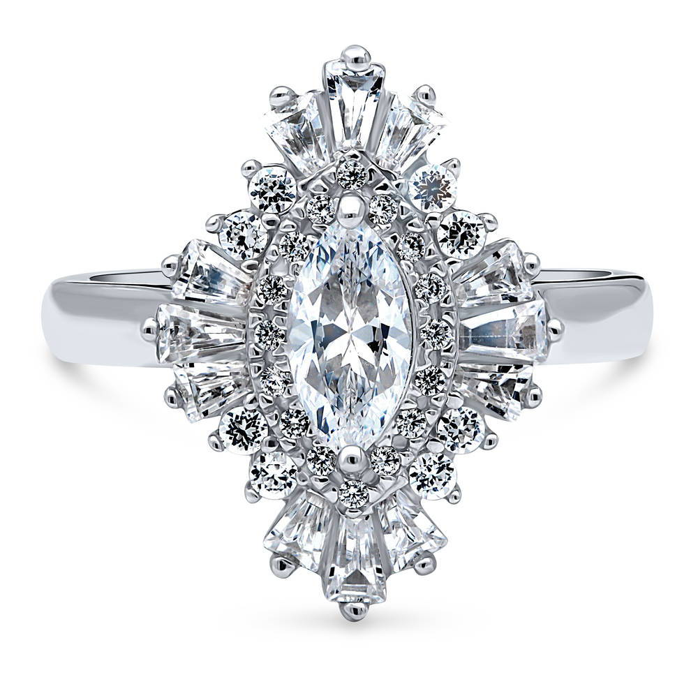 BERRICLE Rhodium Plated Sterling Silver Marquise Cut Cubic Zirconia CZ Halo Engagement Wedding Split Shank Ring Set 1.52 CTW