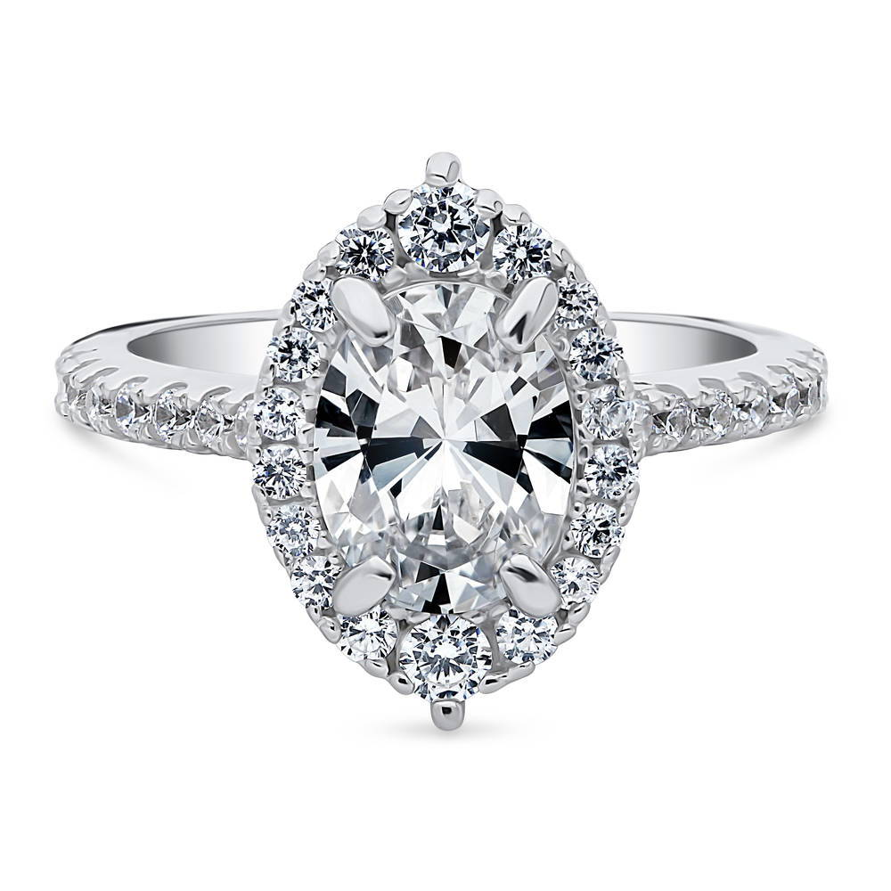 BERRICLE Sterling Silver Oval Cut CZ Halo Art Deco Engagement Ring 1.56 CTW