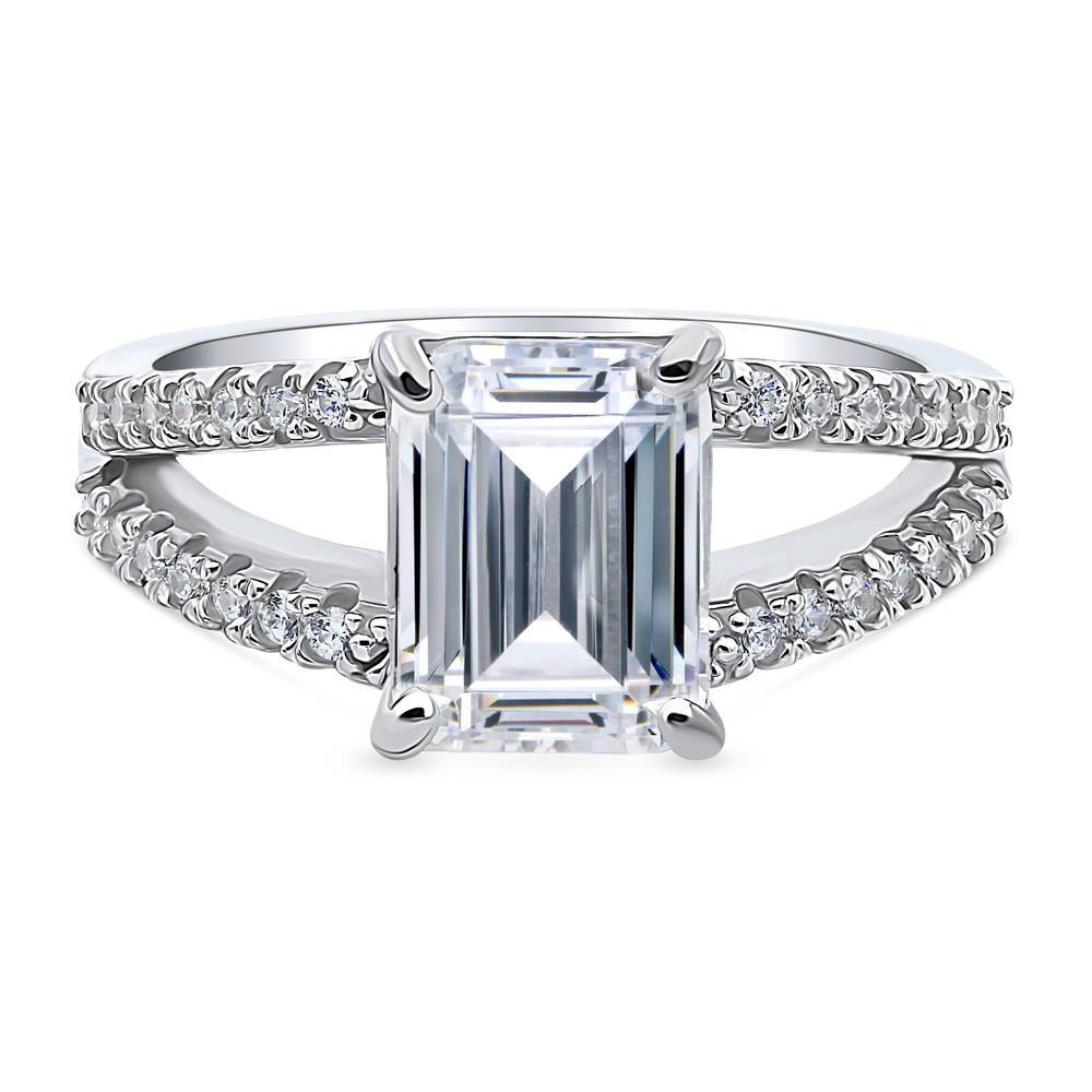 925 Sterling Silver Ring,Cubic Zirconia Studded Ring,Present for Her,Anniversary Gift . 1.01 Ct Solitaire Ring with Studded Shank