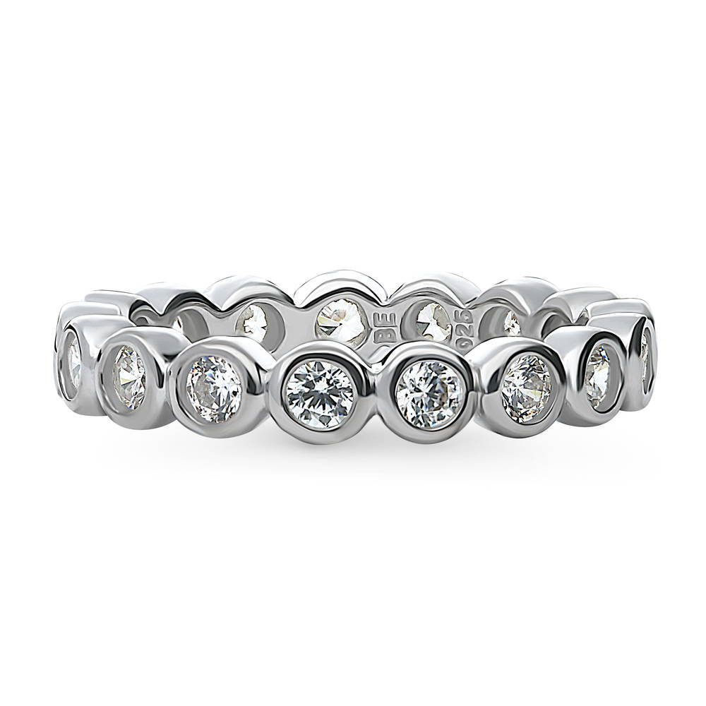 BERRICLE Rhodium Plated Sterling Silver Cubic Zirconia CZ Bubble Anniversary Wedding Eternity Band Ring