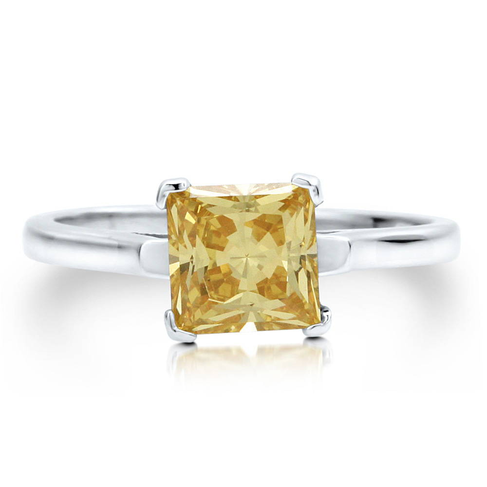 BERRICLE 925 Sterling Silver Princess CZ Simulated Citrine Solitaire Ring Size 4 5 6 7 8 9 10 - Women Wedding Engagement Jewelry at Sears.com