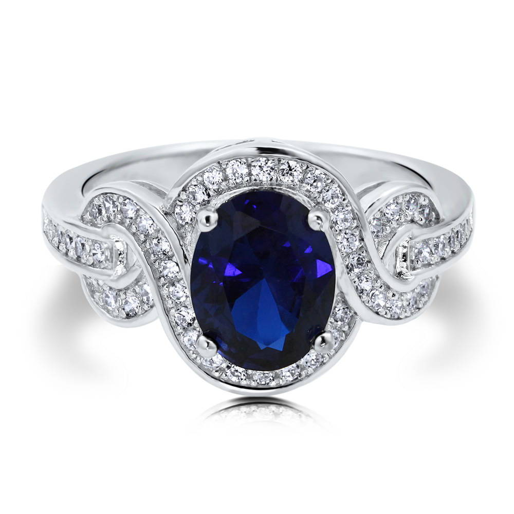 BERRICLE Oval CZ Simulated Sapphire 925 Silver Fancy Cocktail Ring Size 4 5 6 7 8 9 10 - women ...