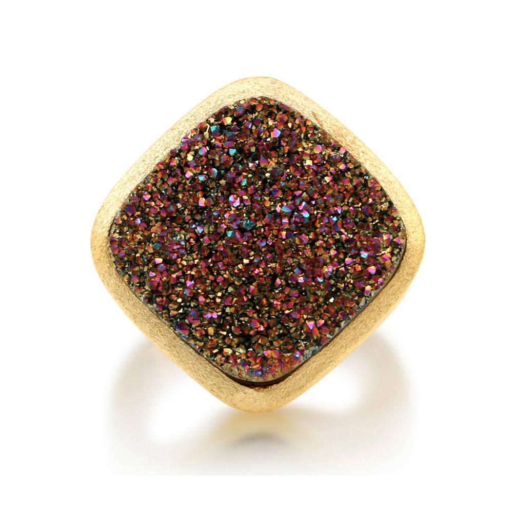 BERRICLE Square Multi-Color Natural Druzy Quartz Goldtone Brass Fashion Ring Size 4 5 6 7 8 9 10 - Women Fashion Right Hand Jewelry at Sears.com