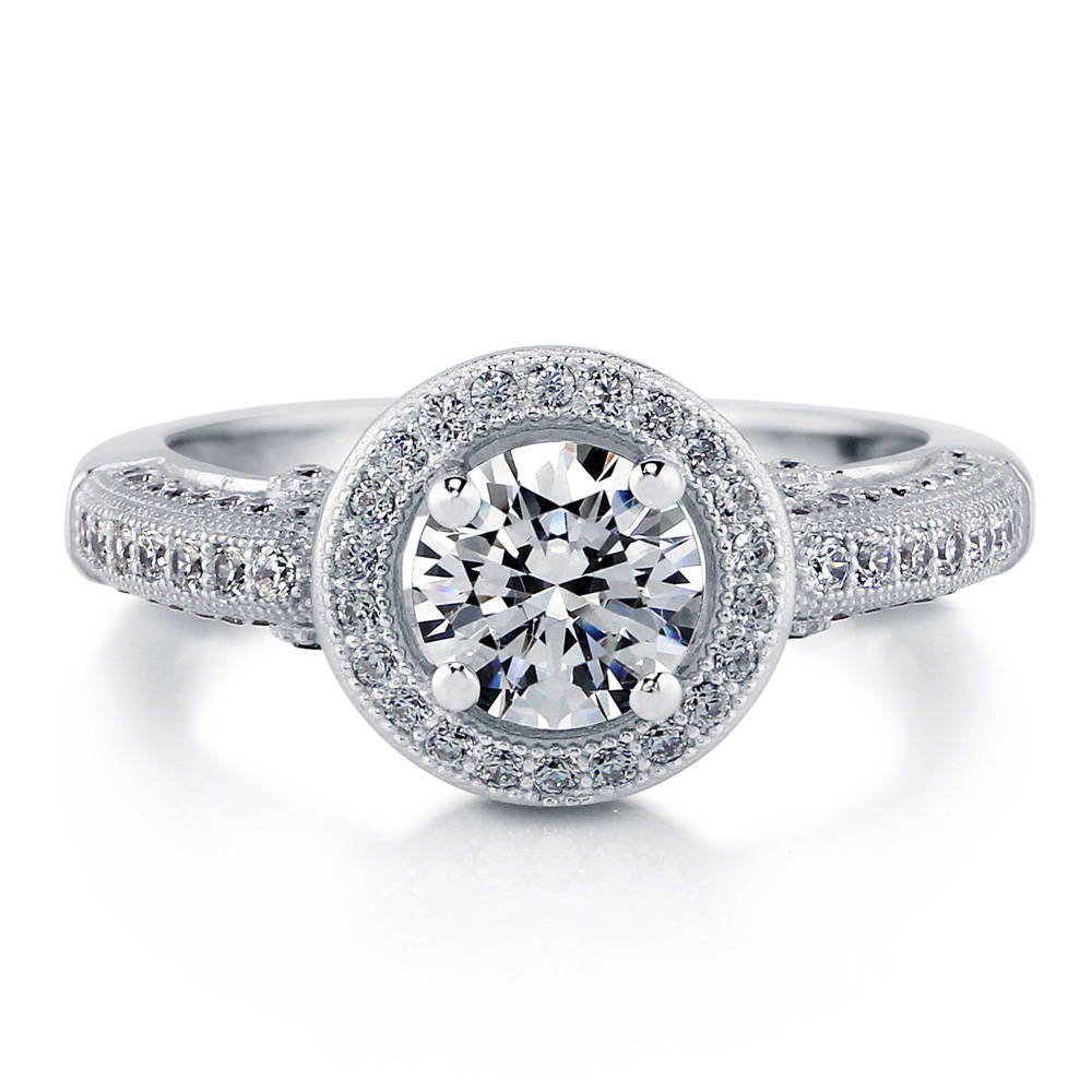BERRICLE 925 Sterling Silver Halo Ring Made With Round Swarovski Zirconia Size 4 5 6 7 8 9 10 - Women Wedding Engagement Jewelry at Sears.com