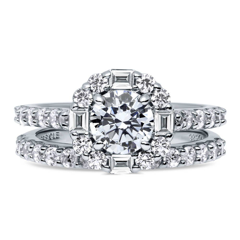 BERRICLE Rhodium Plated Sterling Silver Round Cubic Zirconia CZ Solitaire Engagement Wedding Ring Set 1.6 CTW