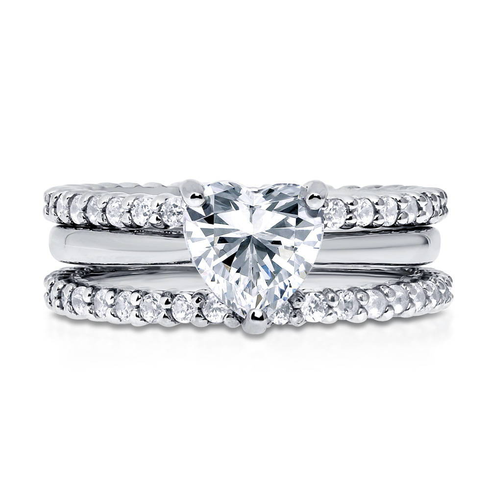 BERRICLE Sterling Silver CZ Heart Solitaire Engagement Wedding Ring Set 2.24 CTW