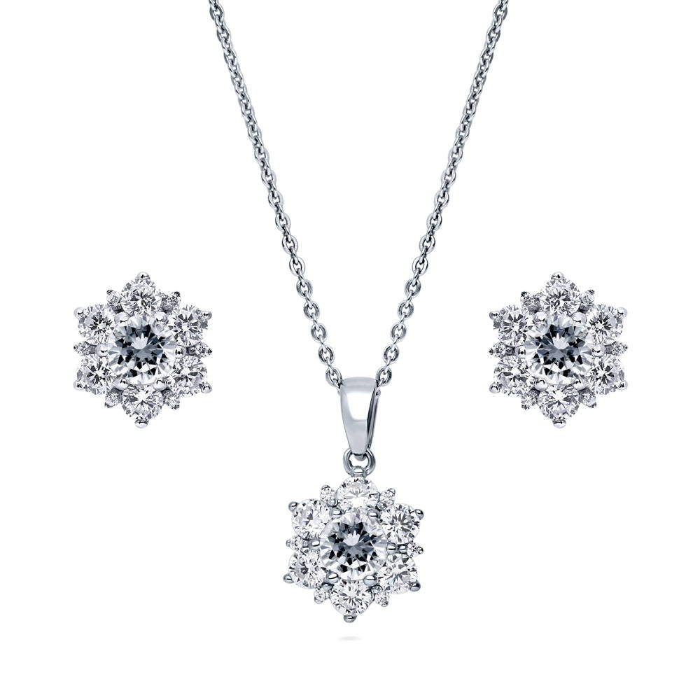 CZ Flower with White Pearl Center Silver Tone Necklace and Earring Set