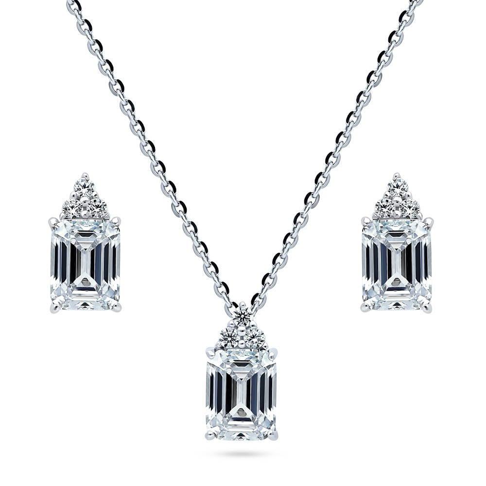 925 STERLING SILVER NECKLACE PENDANT /& EARRING SET W// 2 CT DIAMOND /& EMERALD
