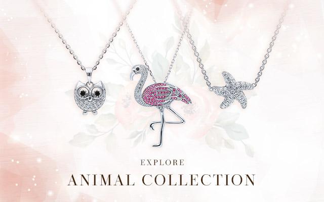 BERRICLE Sterling Silver Cubic Zirconia CZ Flamingo Fashion Pendant Necklace